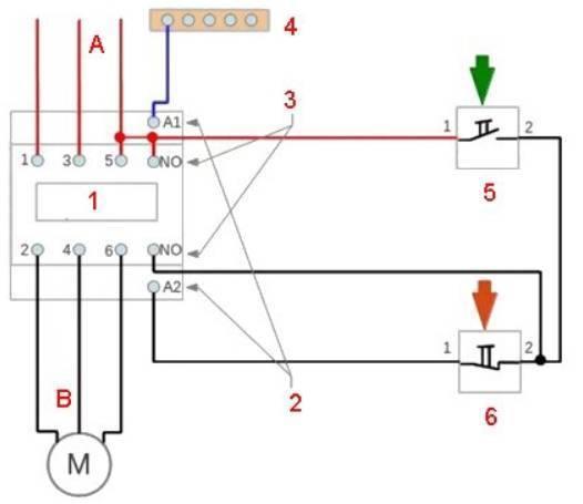 Схема подключения трехфазного двигателя через пускатель