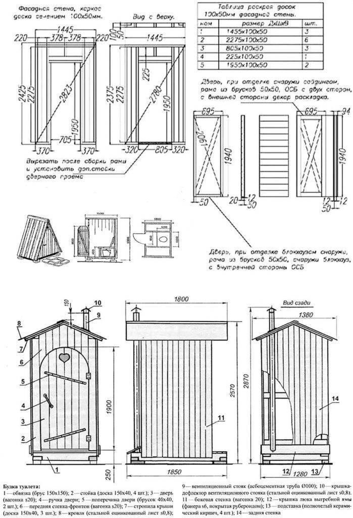 Туалет на даче своими руками: ???? как построить, чертежи и размеры