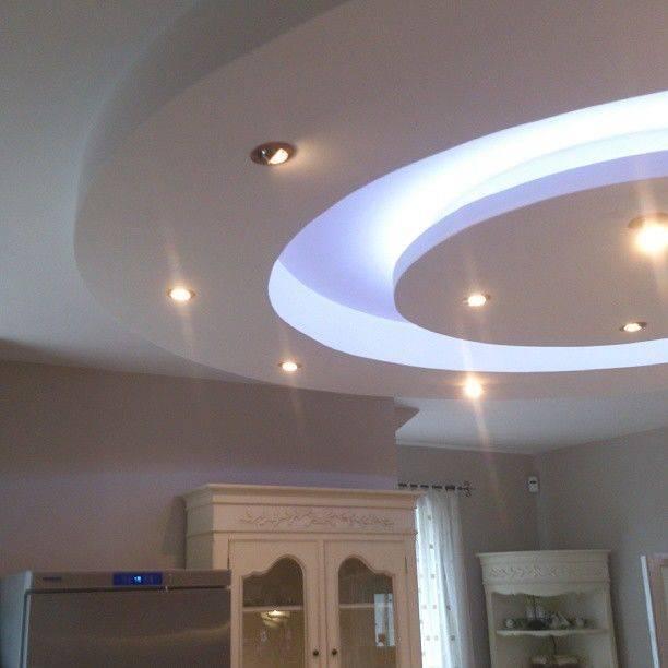 Подвесной двухуровневый потолок из гипсокартона с подсветкой