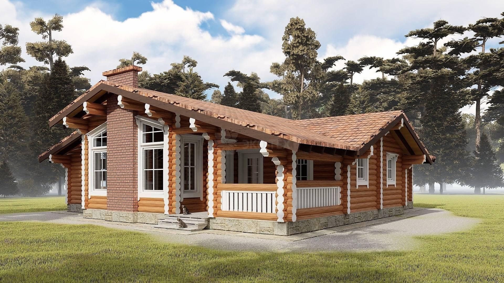 Дома из бревна одноэтажные и проекты из оцилиндрованного бревна