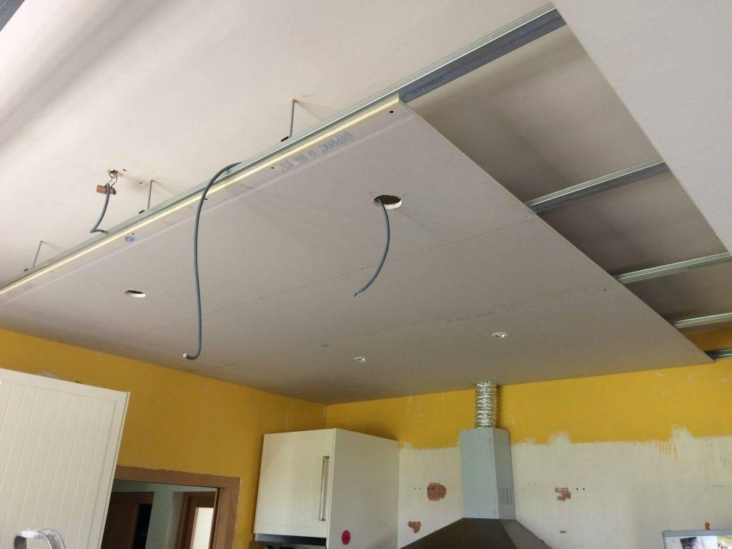 Как сделать потолок на кухне из гипсокартона размеры