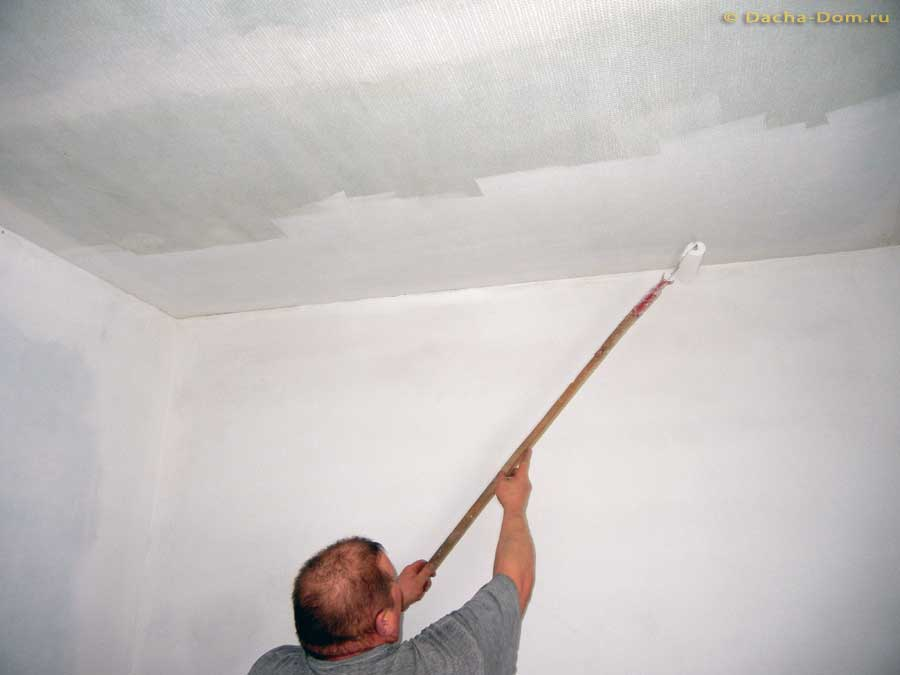 Ремонт потолка стекловолокном и стоимость поклейки паутинки под покраску