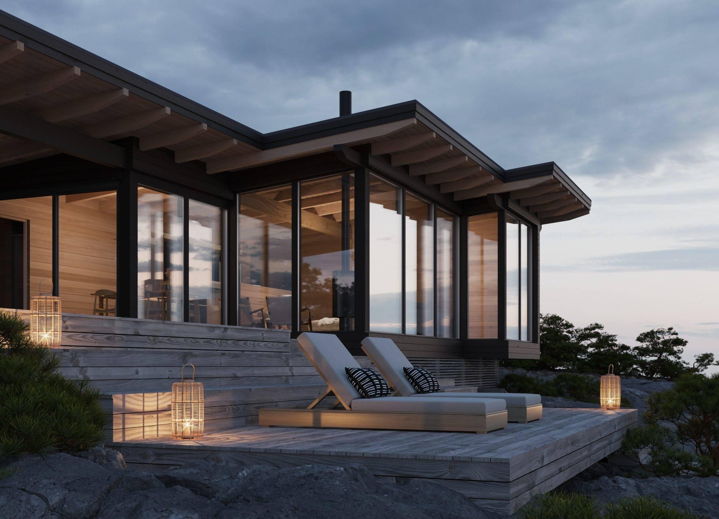 Финские одноэтажные дома из бруса с верандой