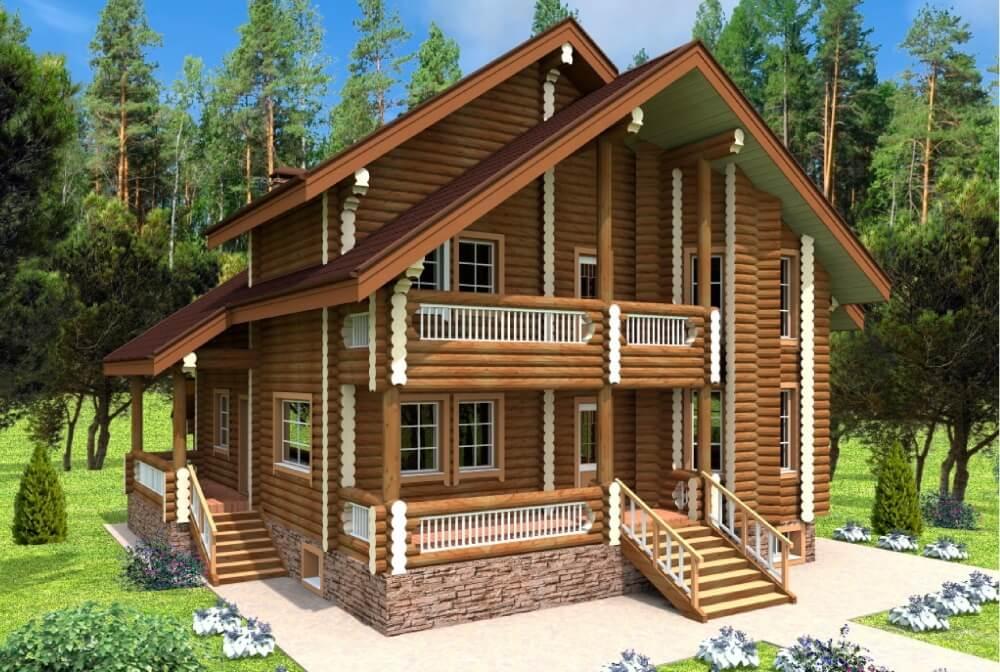 Проектирование двухэтажных домов из дерева